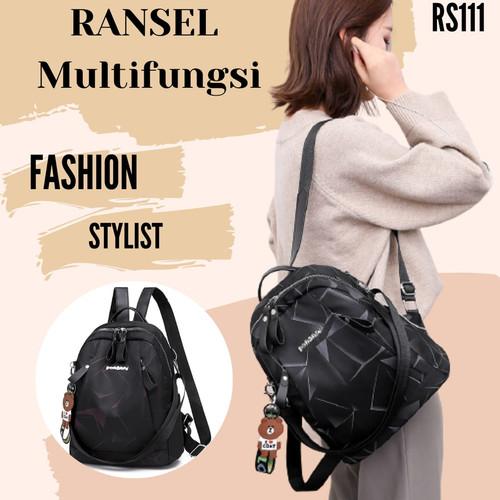 Foto Produk Tas Import / Tas Fashion Multifungsi / Tas Ransel Wanita RS111 - Black - Maroon dari Rising.collection