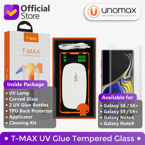 Foto Produk T-MAX Galaxy S8 S9 Note 8 9 Note8 Note9 UV FULL GLUE Tempered Glass - S Nine Plus dari unomax