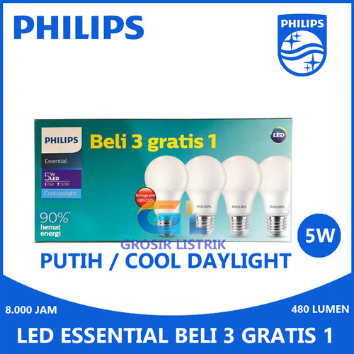 Foto Produk Philips LED Paket Multipack Bulb 6W 8W 10W 12W Essential 5W 7W 9W 11W - MultipackEss 5W dari Grosir Listrik Online