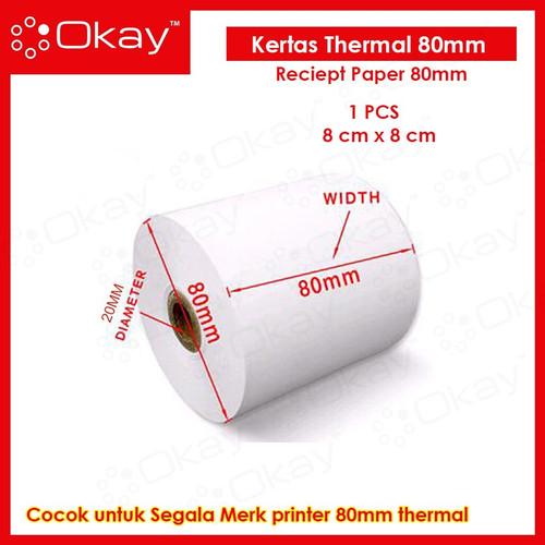 Foto Produk Kertas Thermal Kasir Struk Paper Roll 80x80 mm POS Receipt Printer dari OKAY INDONESIA