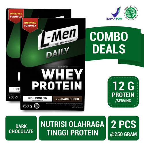 Foto Produk Twin Pack: L-Men Hi Protein Whey Daily Dark Chocolate dari NutriMart