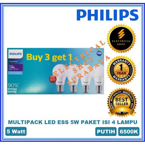 Foto Produk PHILIPS LED MULTIPACK 5W 6W 7W 8W 9W 10W 11W 12W PUTIH PAKET ISI 4 PCS - Multi LEDEss 5W dari Electrical.Shop