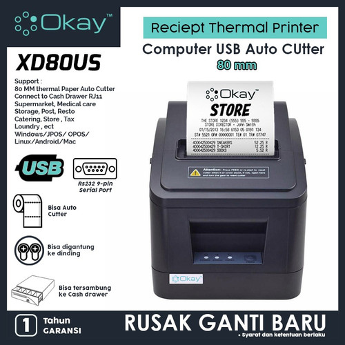 Foto Produk Printer thermal 80mm Reciept Pos PPOB Printer Kasir OKAY XD80US dari OKAY INDONESIA