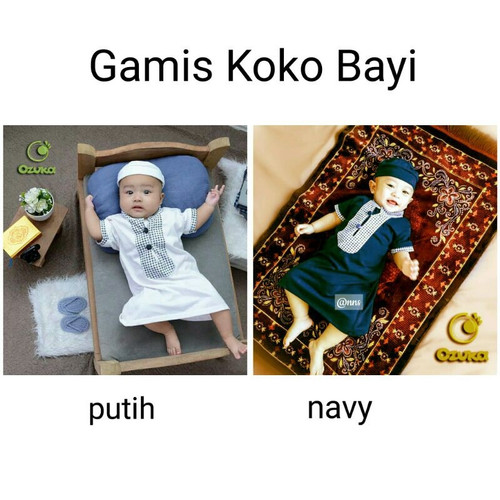 Foto Produk Baju Bayi Laki-Laki Baju Muslim Gamis Koko Jubah Bayi Ozk KKU-01 - S, navy dari Nuning Ningrum Shop