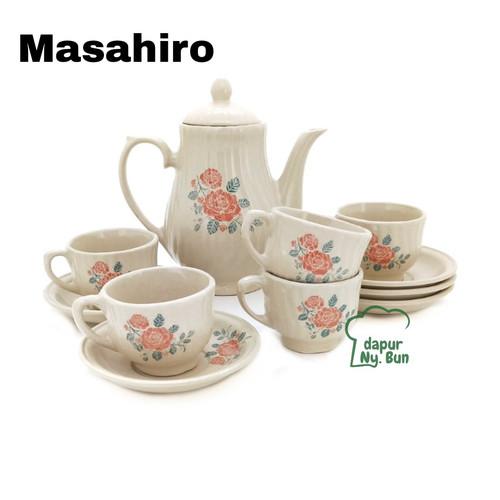 Foto Produk Teko Set Nikura Motif Bunga / Teko + Tutup / 5 Cangkir + 5 Saucer - masahiro dari Dapur Ny.Bun