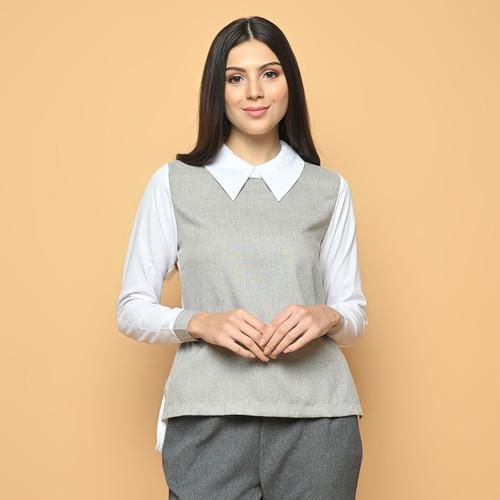 Foto Produk Cammomile kemeja wanita kombinasi 1904072 - White, XL dari Cammomile FashionLine