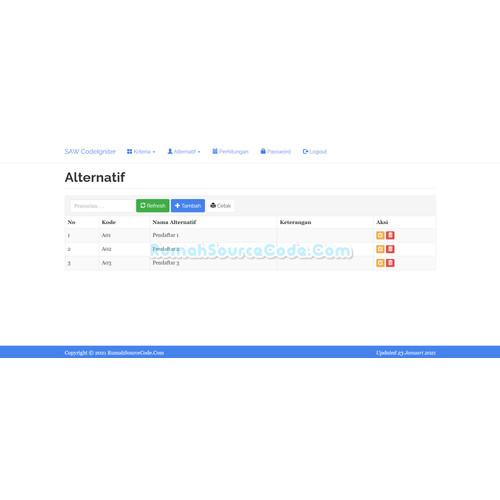 Foto Produk Source Code SPK Metode SAW Codeigniter dari Rumah Source Code