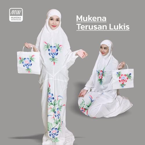 Foto Produk Mukena Bali Terusan Lukis Motif Bunga - Biru dari Mukena Warehouse