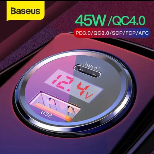 Foto Produk Baseus Car Charger 45W PPS 6A USB+Type-C PD FPC QC 4.0 LED DISPLAY - Type C dan USB dari Ruellia.Corp