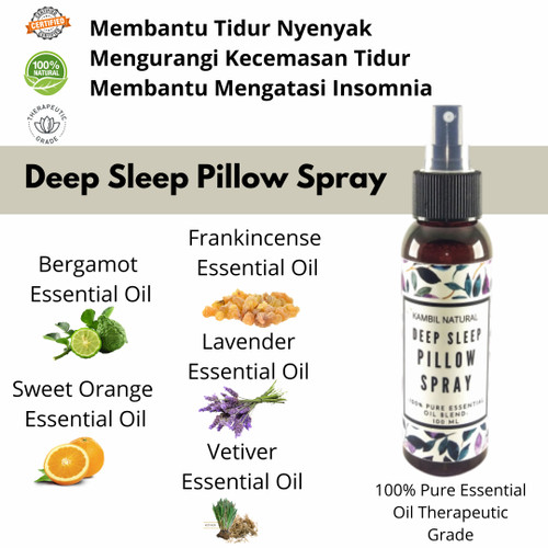Foto Produk Deep Sleep Pillow Spray Frankincense Lavender Bergamot Vetiver Orange dari Kambil Natural