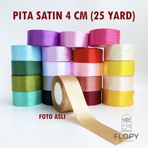 Foto Produk 1 Roll Pita Satin 4 cm - 20 Yard / 18 Meter - Orange dari Floristsupply