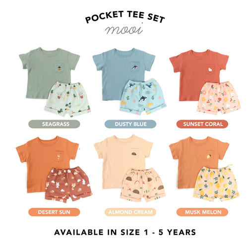 Foto Produk Kaos Anak Tshirt Pocket Mooi Bordir - 1 YEAR, MUSK MELON dari Mooi Official