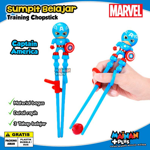Foto Produk Sumpit Anak Karakter Super Hero Marvel Learning Training Chopstick - Captain America dari MainanPlus