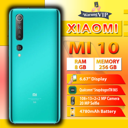 Foto Produk Xiaomi Mi 10 8/256 RAM 8GB Internal 256GB Garansi Resmi - Hijau dari Warung VIP