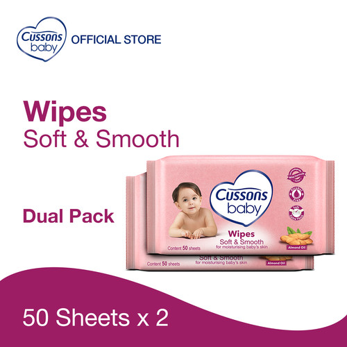 Foto Produk Cussons Baby Wipes Soft & Smooth 50 Sheet X 2 dari Cussons Official Store