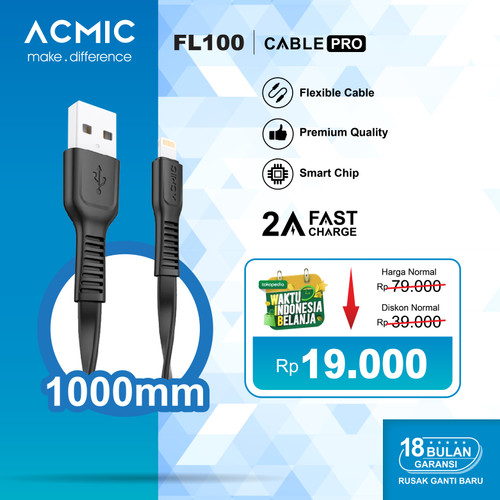Foto Produk ACMIC FL100 Kabel Data Charger iPhone Lightning Fast Charging Cable - Hitam dari ACMIC Official Store