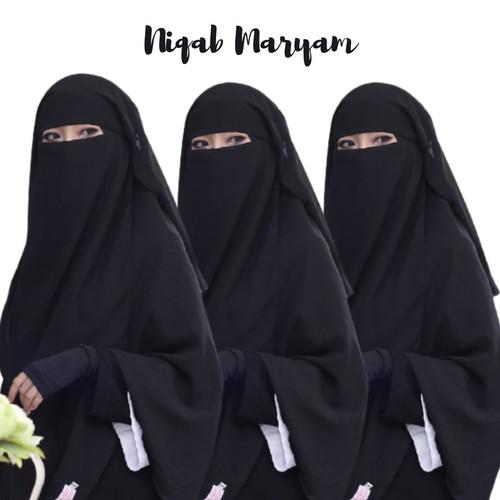Foto Produk Cadar Niqab Maryam Sifon Fine / Cadar Maryam Polos / cadar yaman - Hitam dari Jestha Pedia