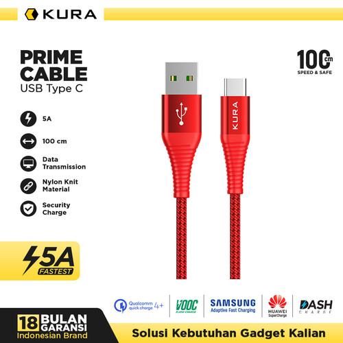 Foto Produk KURA Prime Cable - Kabel Data USB Type C 5A VOOC - Merah dari KURA Elektronik