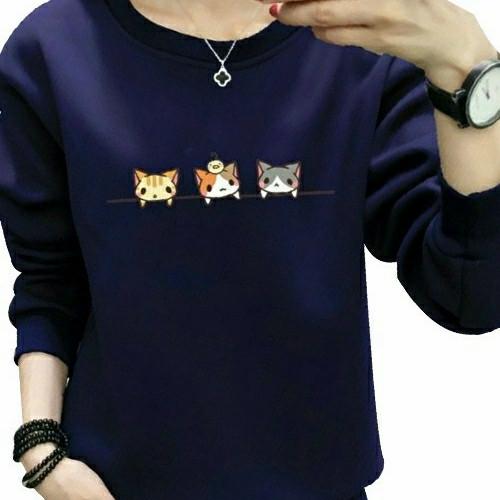 Foto Produk Cat Baju Atasan Top Kaos Wanita cewek remaja perempuan lengan panjang - Navy dari Gallery Al Gibran