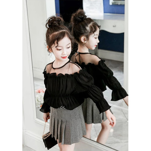 Foto Produk [Kids blouse Nadin tile RO]Blouse anak perempuan ardila varian warna - Hitam dari FASHIONISTA's GROSIR