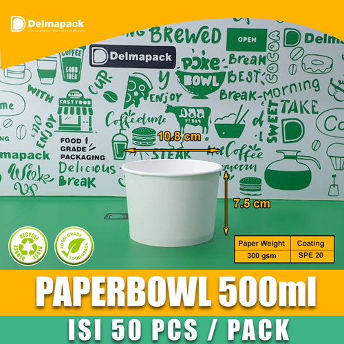 Foto Produk Paper bowl 500 ml microwave 50pcs/ pack tahan panas dan tebal FDA dari Delmapack