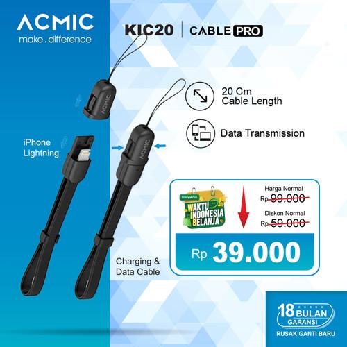 Foto Produk ACMIC KiC20 Kabel Data Charger 20cm iPhone Lightning Fast Charging - Hitam dari ACMIC Official Store