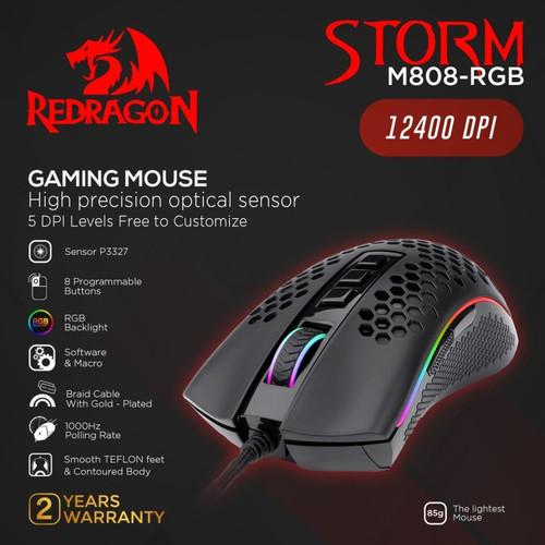 Foto Produk Redragon M808-RGB Gaming Mouse RGB STORM - Hitam dari manekistore
