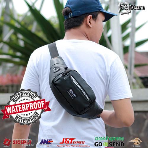 Foto Produk Tas Selempang Pria Waterproof Anti Air Murah Waistbag Cowok Distro - Hitam dari TQSTORE9