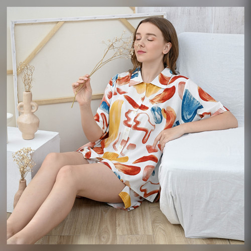Foto Produk Enya Set in Punchy Colors - Sleepwear / Piyama Baju Tidur Rayon RAHA dari Raha Sleepwear