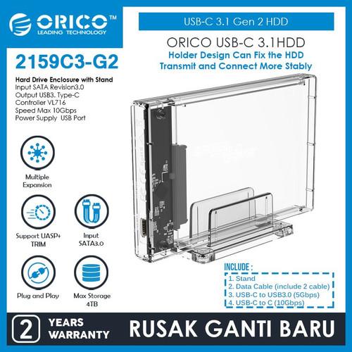 Foto Produk ORICO USB-C 3.1 Gen 2 HDD Enclosure 2.5in Transparent 10Gbps 2159C3-G2 dari ORICO INDONESIA