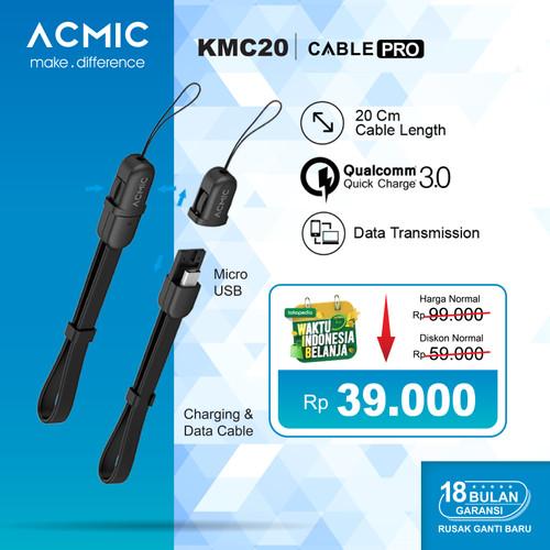 Foto Produk ACMIC KMC20 Kabel Data Charger 20cm Micro USB Fast Charging Cable - Hitam dari ACMIC Official Store