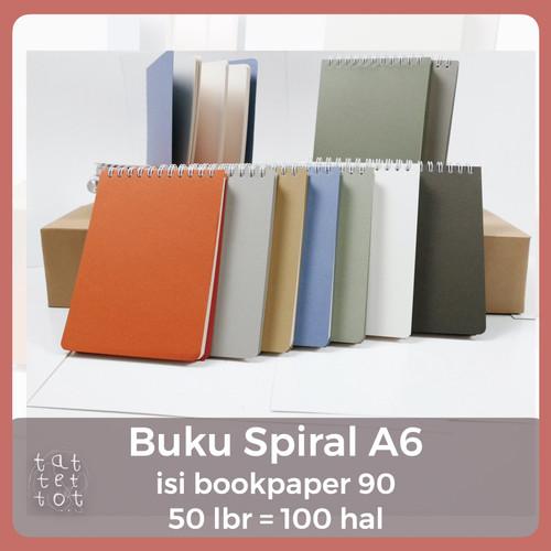 Foto Produk BUKU SPIRAL A6 ISI BOOKPAPER 90 GSM 50 LEMBAR NOTEBOOK A6 RING - Putih dari Tat Tet Tot