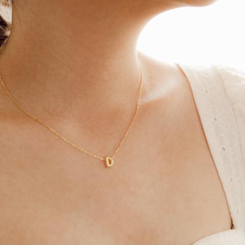 Foto Produk Dear Me - Alphabet Necklace N - Z (925 Silver 14K Gold Plated) Kalung dari Dear Me Jewelry