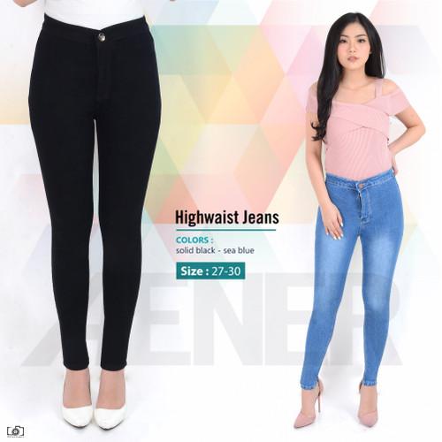 Foto Produk Celana Panjang Highwaist Jeans HW Long Pants Girl Wanita Women Denim A - Hitam, 27 dari khlove89
