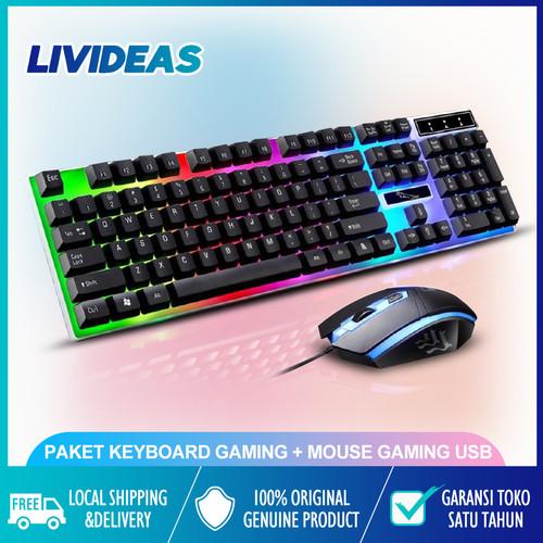 Foto Produk PAKET KEYBOARD GAMING MOUSE GAMING USB 1 Set Keyboard MOUSE - Putih dari Livideas