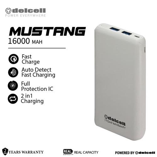 Foto Produk Delcell MUSTANG Powerbank 16000mAh Real Capacity Fast Charging - Putih dari DelCell
