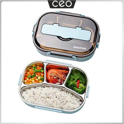 Foto Produk CEO Tempat Makan Stainless Steel Lunch Box Stainless Steel Kotak Makan - Varian 3 Sekat, Merah Muda dari CEO Official Store