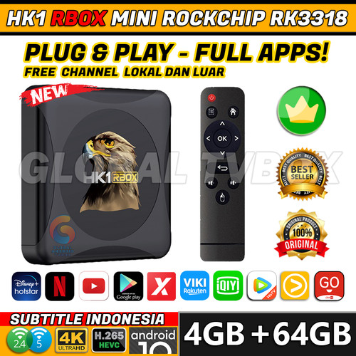 Foto Produk HK1 R1 RBOX Mini Android TV Box 4GB/64GB 5G WiFi Bluetooth 4.0 USB 3.0 - HK1 R1 RBOXMINI, REMOTE STANDARD dari Global Tvbox