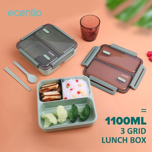 Foto Produk Ecentio 1100ml 3 grid lunch box anti bocor/ anti percikan kotak makan dari ecentio Official Store