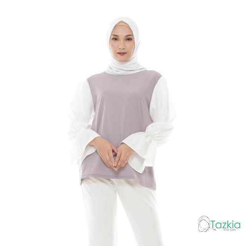 Foto Produk Atasan Wanita Muslim | Silmi Blouse Abu | S M L XL | Tazkia Hijab - L dari Tazkia Hijab Store