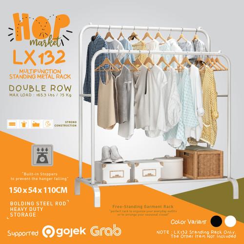 Foto Produk LX132 Rak 2 Row Serbaguna Gantungan Pakaian Baju Sepatu / Hanger Topi - WHITE dari HOP Market