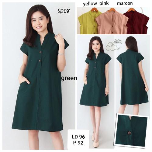 Foto Produk Casual dress SD08 polos katun uniqlo / Midi Dress - yellow dari Melyfashion