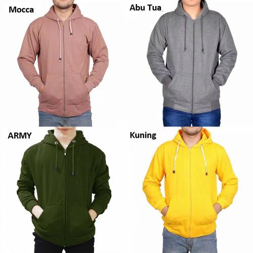 Foto Produk Jaket Pria Wanita Unisex Hoodie Zipper Resleting Polos Fleece Cotton - warna dicatatan, M dari Gudang Fashion Indonesia