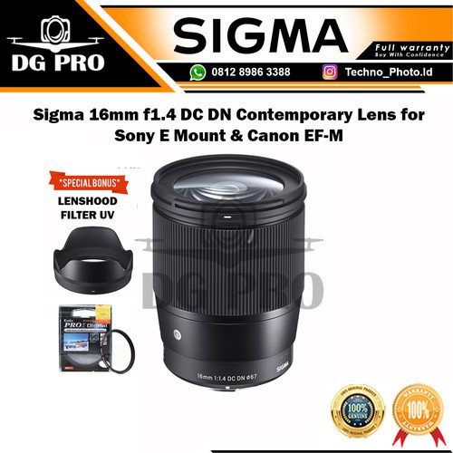 Foto Produk Sigma 16mm f1.4 DC DN Contemporary Lens for Sony E Mount - CANON dari DG PRO