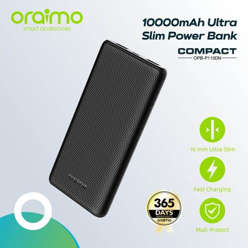 Foto Produk Oraimo Compact 10000mAh Ultra Slim Powerbank OPB-P110D Fast Charging - Hitam dari Oraimo_indonesia