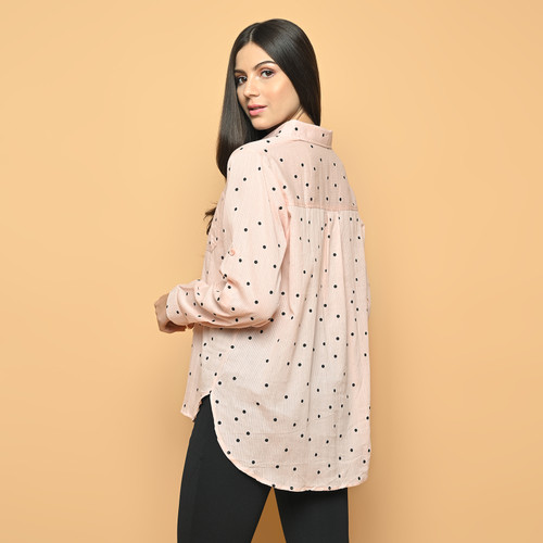 Foto Produk Cammomile 2101011 Kemeja lengan panjang polkadot - Pink, all size dari Cammomile FashionLine