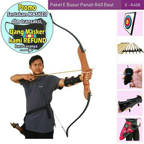 Foto Produk PAKET E BUSUR PANAH R40 BAUT+TARGET+ARROW+ARM GUARD+FINGER TAB+QUIVER dari Vision Archery Club