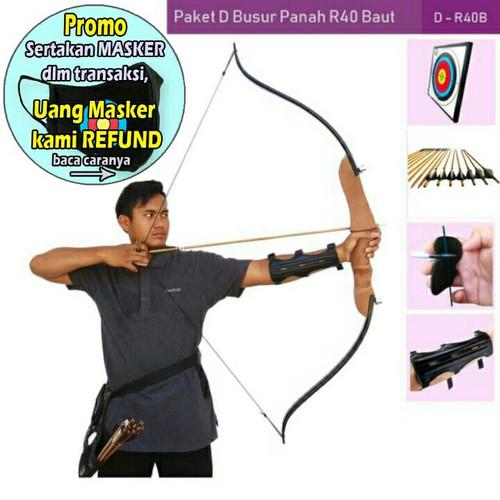 Foto Produk PAKET D BUSUR PANAH R40 BAUT+TARGET+ARROW+ARM GUARD+FINGER TAB dari Vision Archery Club