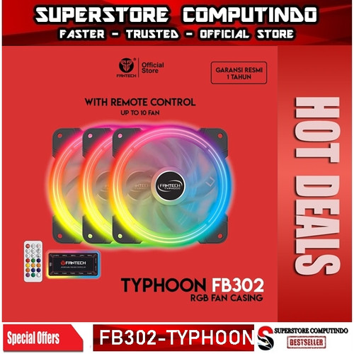 Foto Produk Fantech TYPHOON FB302 Fan Casing RGB 12cm dengan Remote Control dari SuperStore Computindo