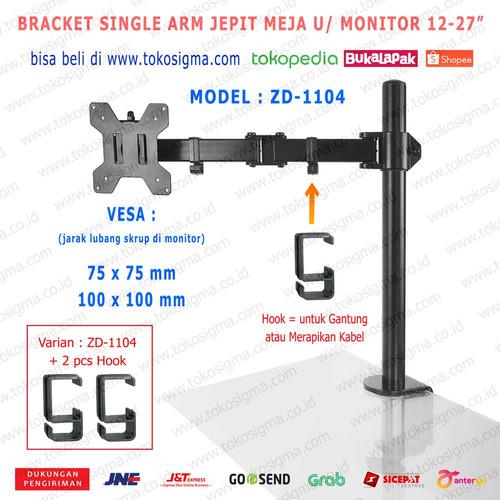 "Foto Produk BRACKET STAND JEPIT MEJA ZD-1104 SINGLE ARM DESK MOUNT MONITOR 13-27"" - ZD1104 + 2 Hook dari tokosigma"